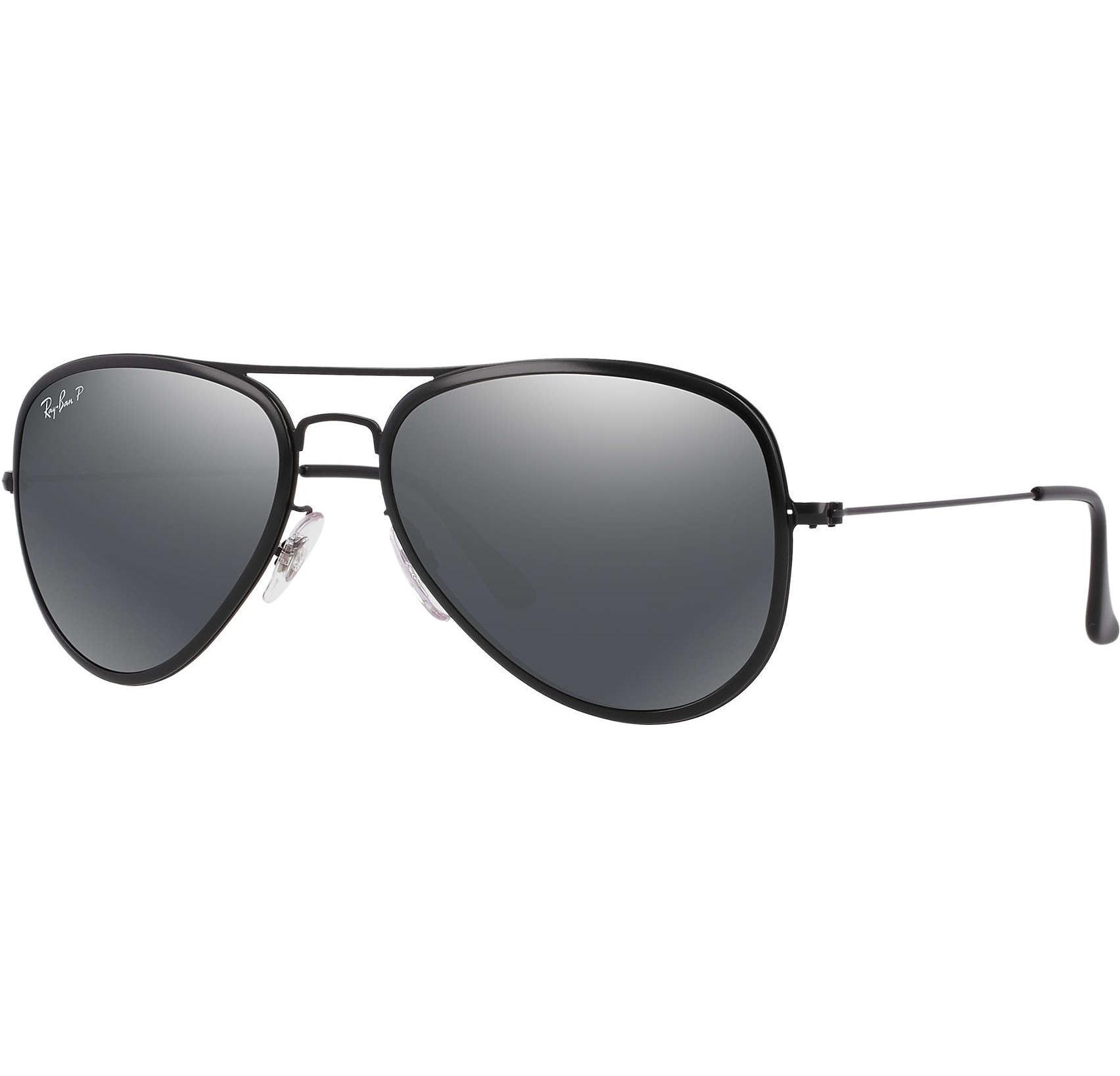 2cb508200c0 Buy Ray-ban Aviator Flat Polarized Black silver Mirror Lens in Dubai ...